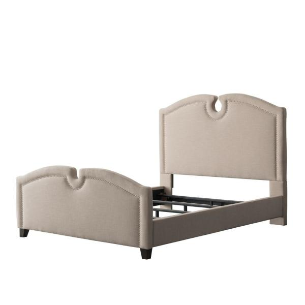 Fairfield Beige Fabric King Curved Top Bed