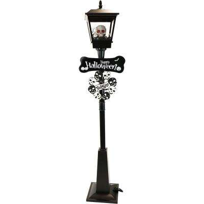 71 in. Black Gruesome Skull Lamp Post with Animation and Spooky Music
