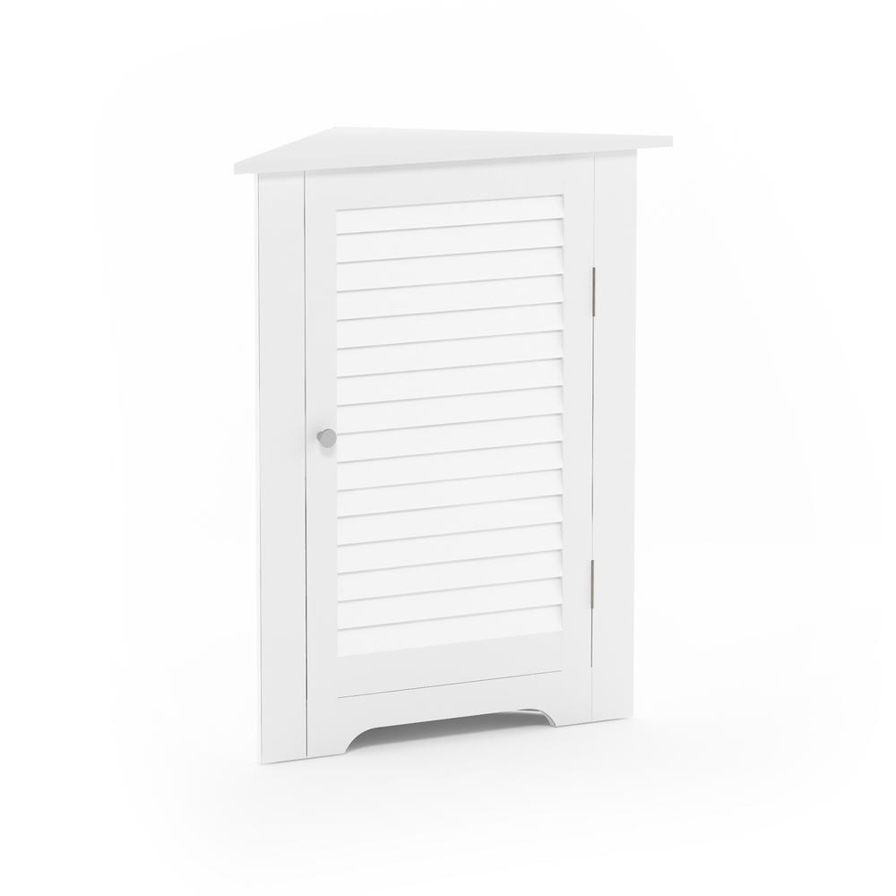 Indo White Corner Louver Door Cabinet