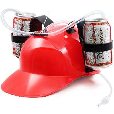 Red Guzzler Drinking Helmet Can Holder Drinker Hat Cap with Straw for Beer and Soda Party Fun