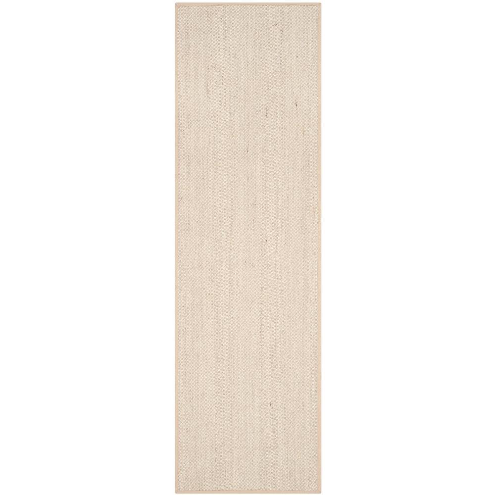 Natural Fiber Marble/Linen 3 ft. x 14 ft. Runner Rug