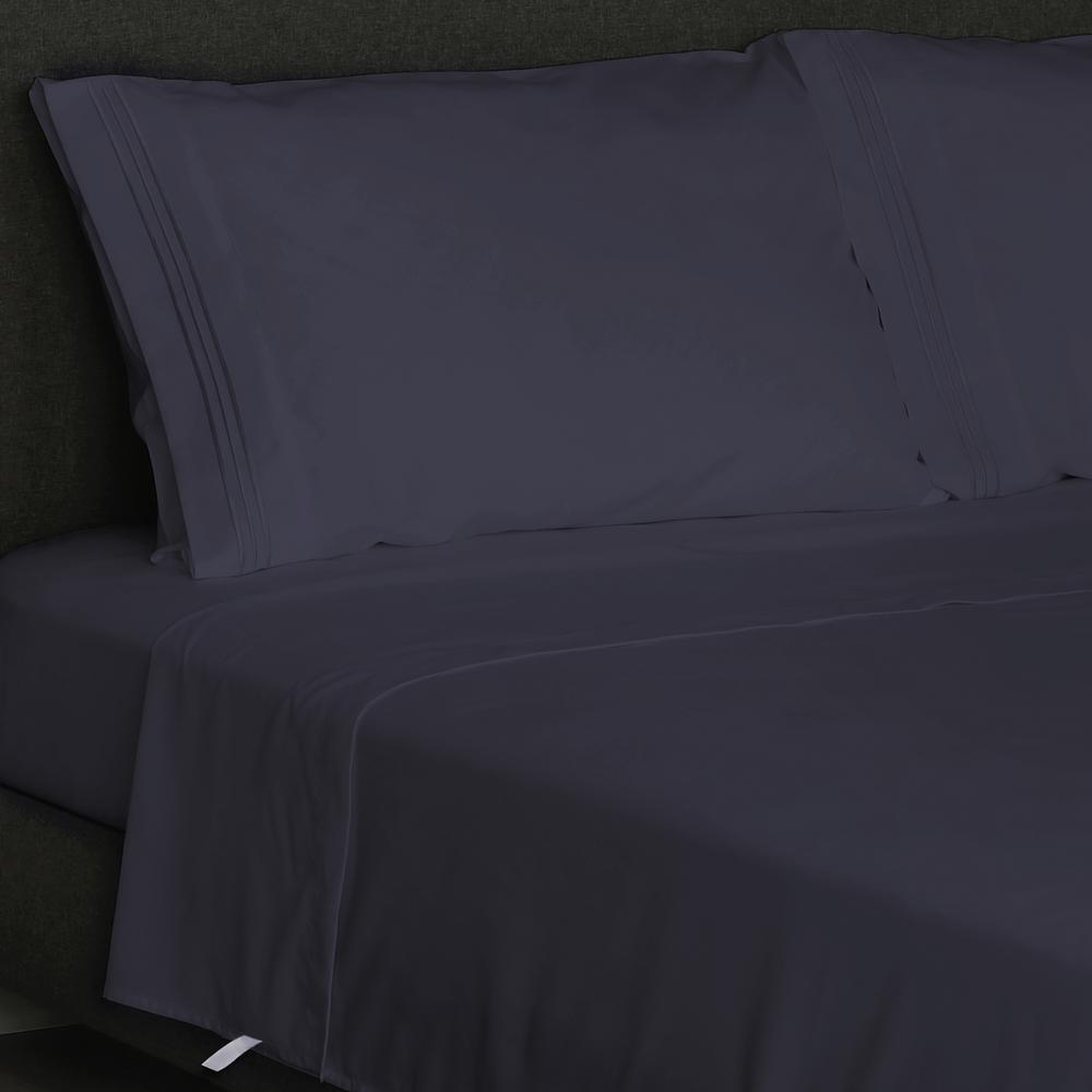 Angeland Vienne 4-Piece Navy Blue Microfiber Queen Sheet Set