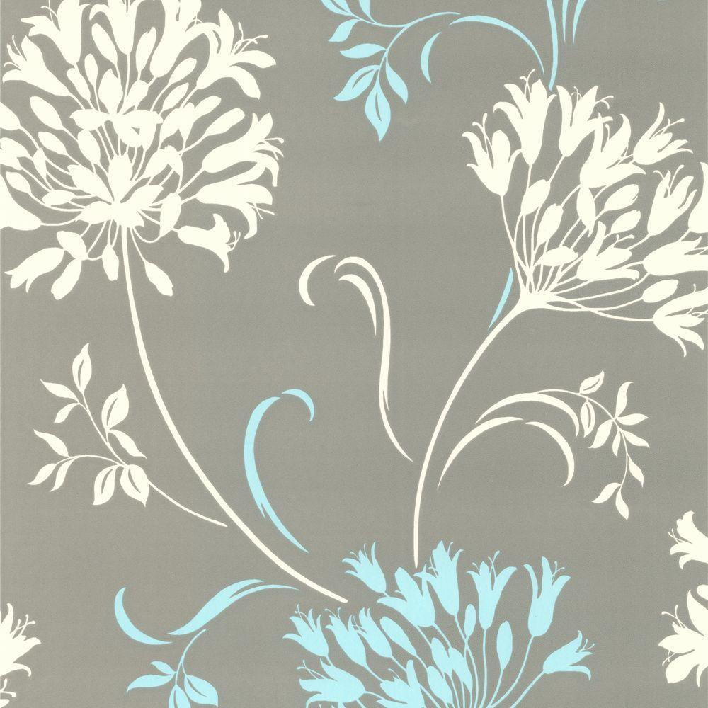 Nerida Light Grey Floral Silhouette Wallpaper