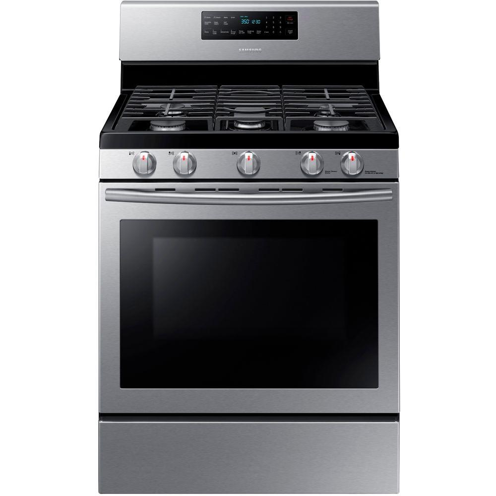30 In 5 8 Cu Ft Gas Range With Self Cleaning And Fan Convection Oven Stainless Steel