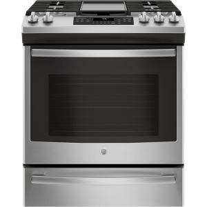 Click here to buy GE 5.6 cu. ft. Slide-In Gas Range with Self-Cleaning Convection Oven in Stainless Steel by GE.