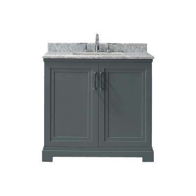 Lynn 36 in. x 22 in. D Vanity in School House Slate with Marble Vanity Top in White with White Basin