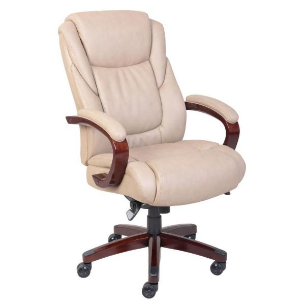 La Z Boy Miramar Taupe Bonded Leather Executive Office Chair 45835 The Home Depot