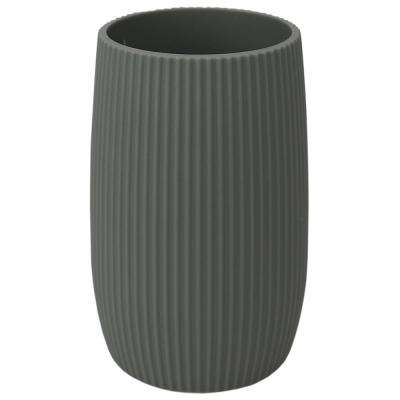 Rubberized Ribbed Plastic Bathroom Cup Tumbler in Grey