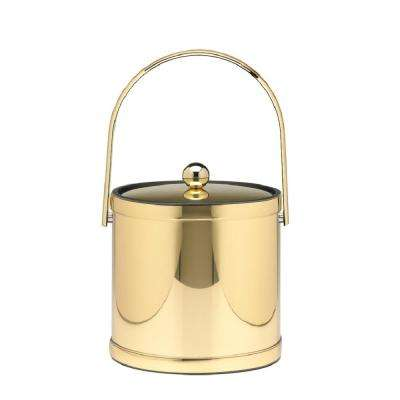 Mylar 3 Qt. Polished Brass Ice Bucket with Track Handle and Metal Lid