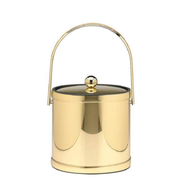 Kraftware Mylar 3 Qt. Polished Brass Ice Bucket with Track Handle