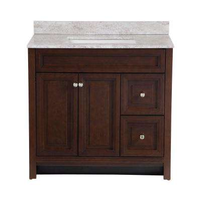 Brinkhill 36 in. W x 22 in. D Bath Vanity in Cognac with Stone Effects Vanity Top in Winter Mist