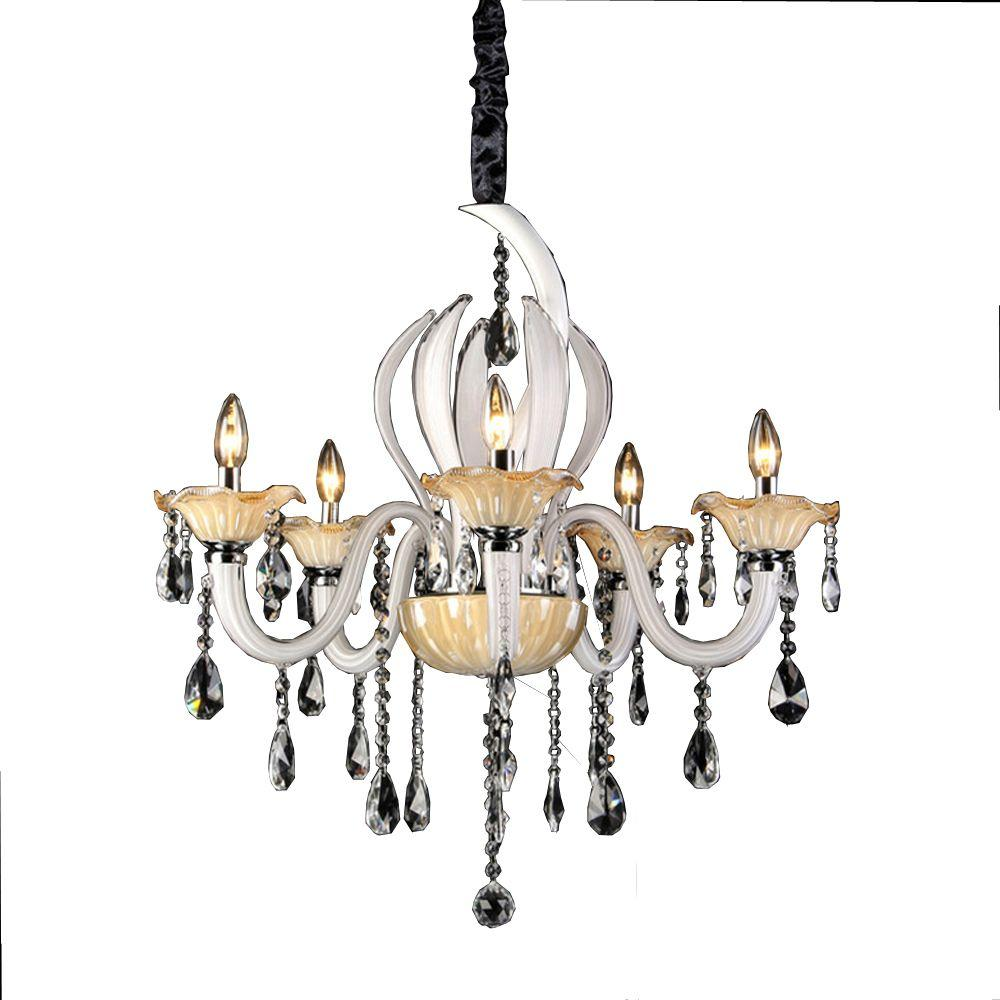 Carla 5 light chrome indoor white and amber crystal chandelier carla 5 light chrome indoor white and amber crystal chandelier aloadofball Image collections