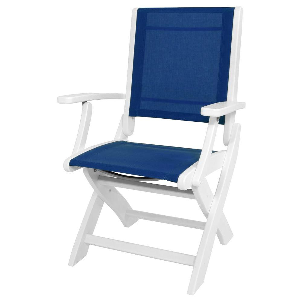 POLYWOOD White/Royal Blue Sling Coastal Patio Folding Chair