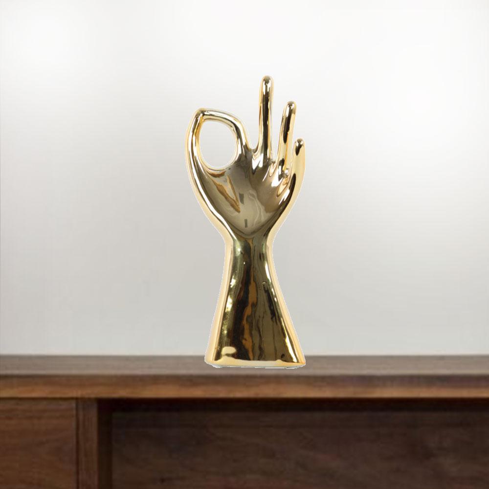 """Ok"" Hand Gesture Sculpture Jewellery Holder in Gold Color"