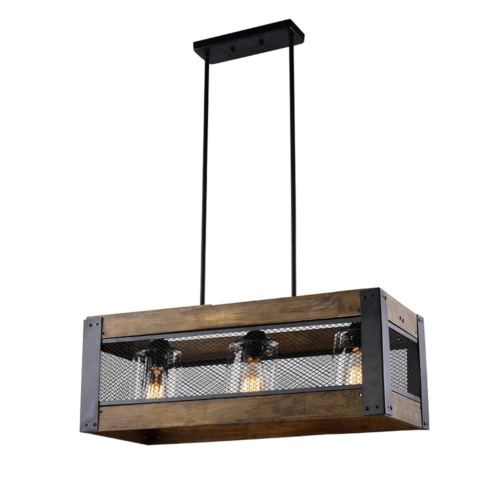 LNC 3-Light Wood Black Chandelier with Clear Glass Shade