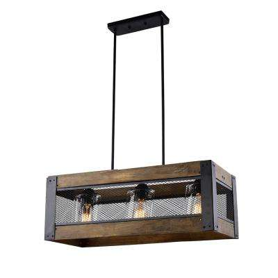 3-Light Wood Black Chandelier with Clear Glass Shade