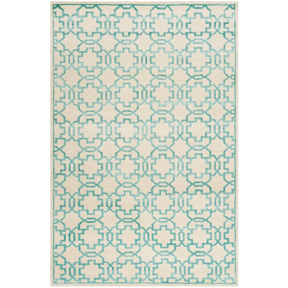 Mosaic Cream/Aqua 4 ft. x 6 ft. Area Rug
