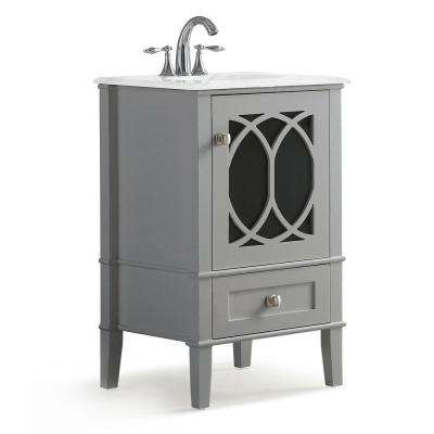 Paige 20 in. W x 19 in. D Bath Vanity in Warm Grey with Marble Vanity Top in White with White Basin