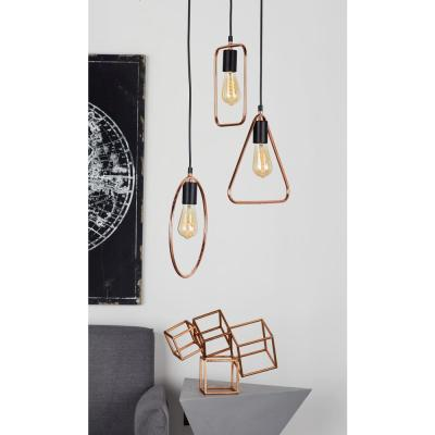 Litton Lane 12 in. Silver Pendant Light with 3-Geometric Tube Frame