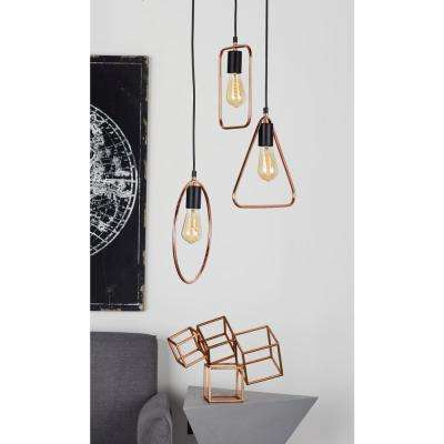 12 in. Silver Pendant Light with 3-Geometric Tube Frame