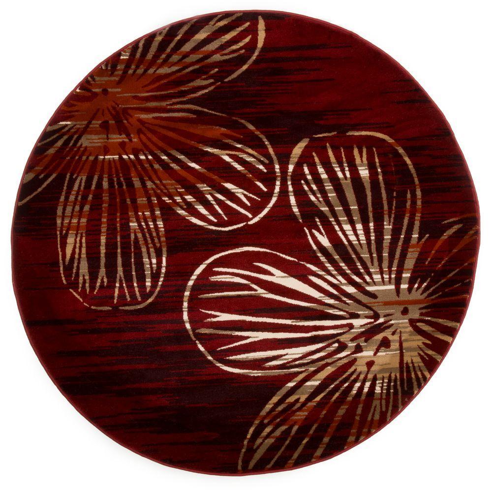 Opus Modern Floral Burgundy 5 ft. x 5 ft. Round Area Rug