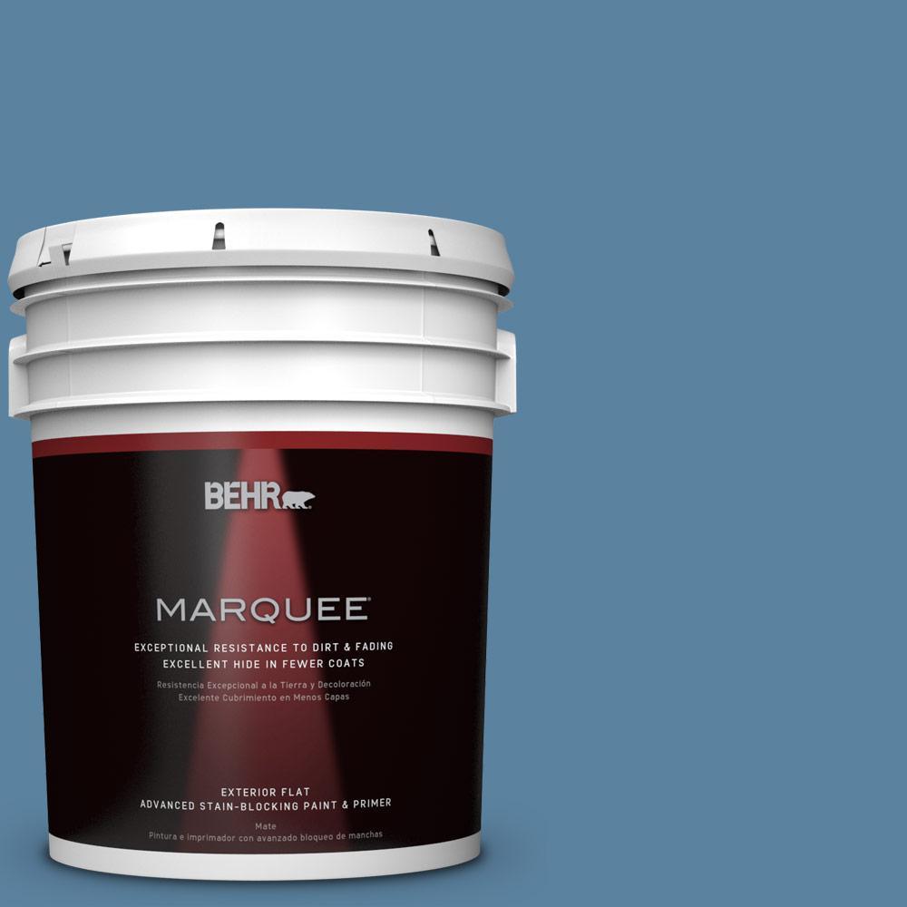 BEHR MARQUEE 5-gal. #BIC-38 Honest Blue Flat Exterior Paint
