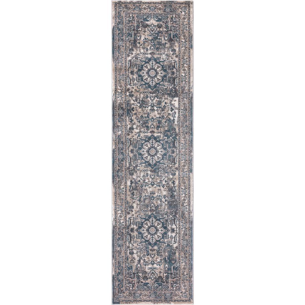 Angora Blue 2 ft. x 7 ft. Medallion Runner Rug