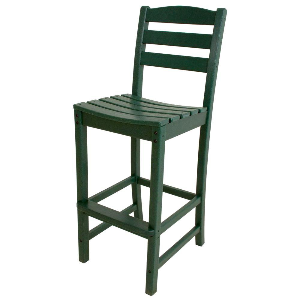 POLYWOOD La Casa Cafe Green Plastic Outdoor Patio Bar Side Chair