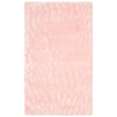 Faux Sheep Skin Pink 3 ft. x 4 ft. Area Rug