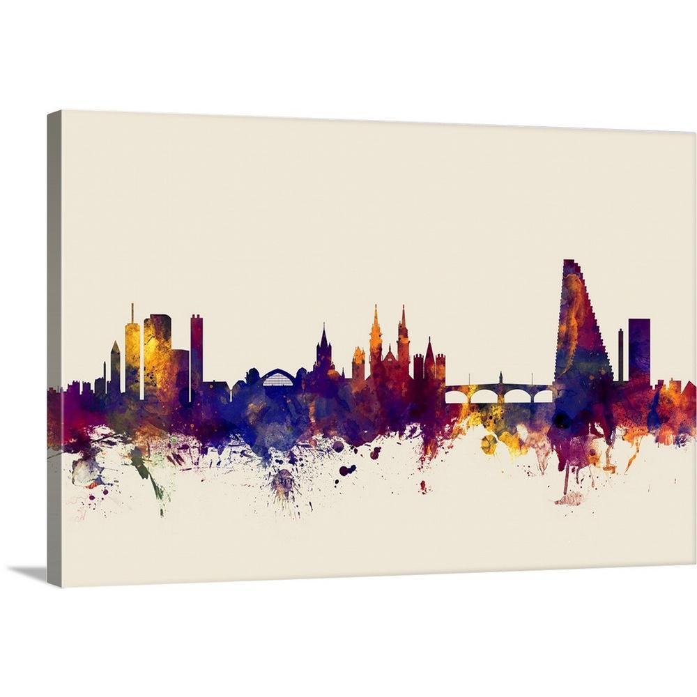24 In X 16 Basel Switzerland Skyline By Michael Tompsett Canvas Wall Art