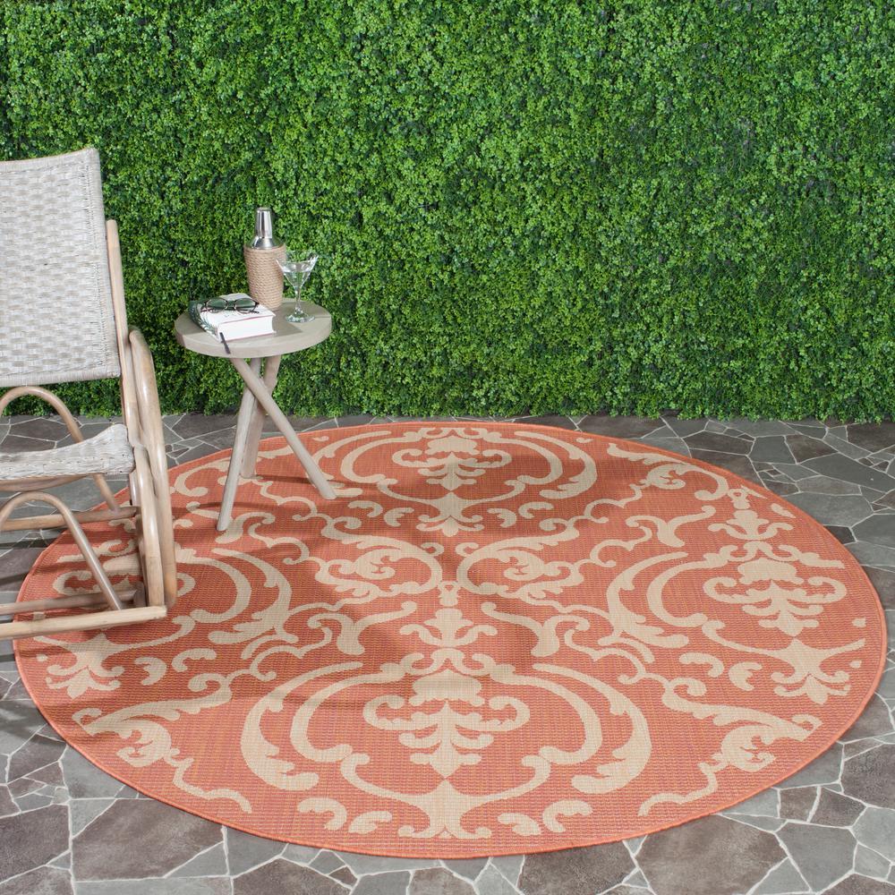 Courtyard Terracotta/Natural 7 Ft. X 7 Ft. Indoor/Outdoor Round Area