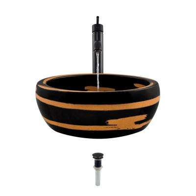 Ceramic Vessel Sink in Black and Yellow with 718 Faucet and Pop-Up Drain in Antique Bronze