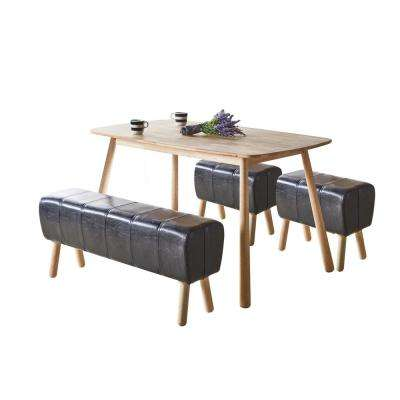 Dessa Black PU and Natural Bench