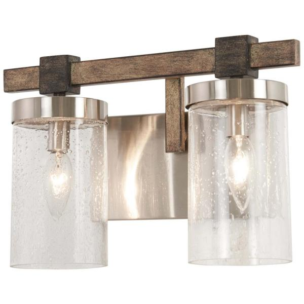 Bridlewood 2-Light Stone Grey with Brushed Nickel Bath Light with Clear Seedy Glass