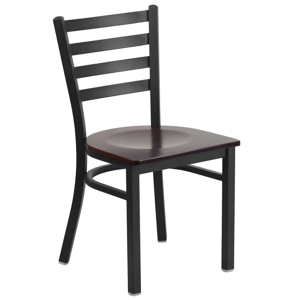 Flash Furniture Hercules Series Black Ladder Back Metal Restaurant Chair - Walnut Wood Seat by Flash Furniture
