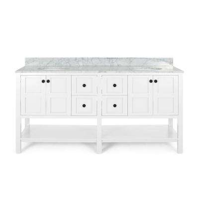 Jaeden 72 in. W x 22 in. D Bath Vanity with Carrara Marble Vanity Top in White with White Basin