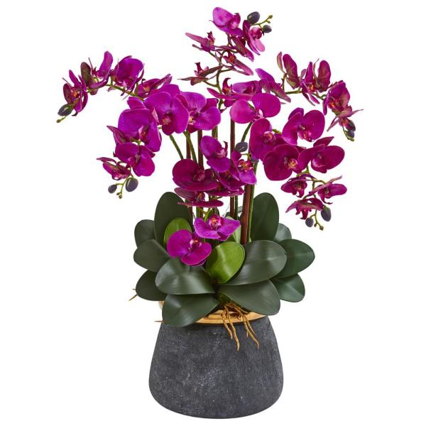 Nearly Natural Phalaenopsis Orchid Artificial Arrangement in Stoneware Vase 1933-PP