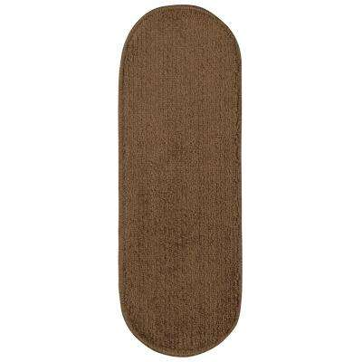 Softy Collection Brown 9 in. x 26 in. Rubber Back Oval Stair Tread Cover (Set of 14)