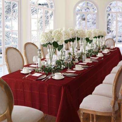 60 in. W x 84 in. L OvaL Poinsettia Red Elrene Elegance Plaid Damask Fabric Tablecloth