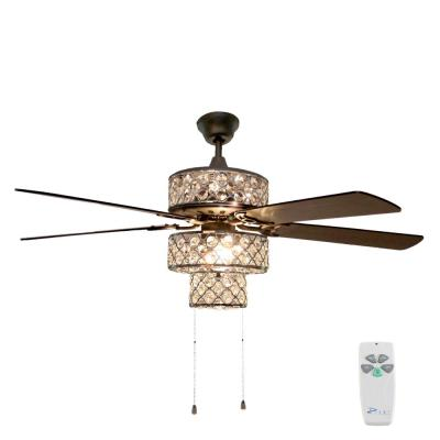 52 in. Silver Ceiling Fan with Punched Metal Triple-Tiered Clear Crystals