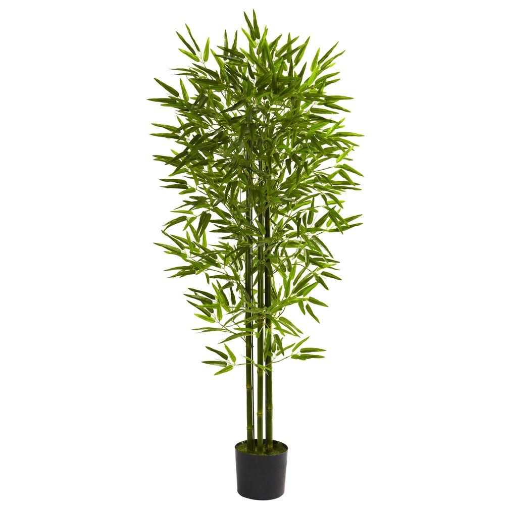 Nearly Natural 5 ft. UV Resistant Indoor/Outdoor Bamboo Tree-5385 ...