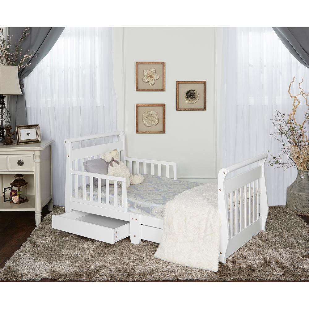 dream on me white toddler adjustable sleigh bed with storage drawer 643 w the home depot. Black Bedroom Furniture Sets. Home Design Ideas