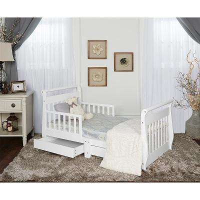 White Toddler Adjustable Sleigh Bed with Storage Drawer