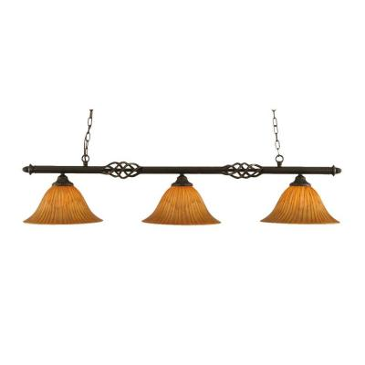 Concord 3-Light Dark Granite Island Pendant
