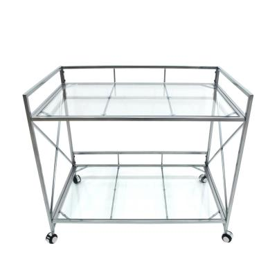 Ignatius Industrial Modern Silver Iron 2-Tier Bar Cart with Glass Shelves