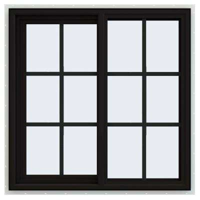 36 in. x 36 in. V-4500 Series Black FiniShield Vinyl Left-Handed Sliding Window with Colonial Grids/Grilles
