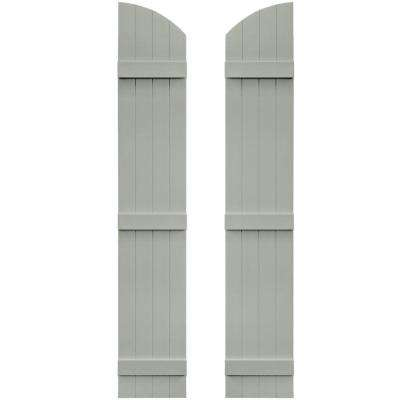 14 in. x 81 in. Board-N-Batten Shutters Pair, 4 Boards Joined with Arch Top #284 Sage