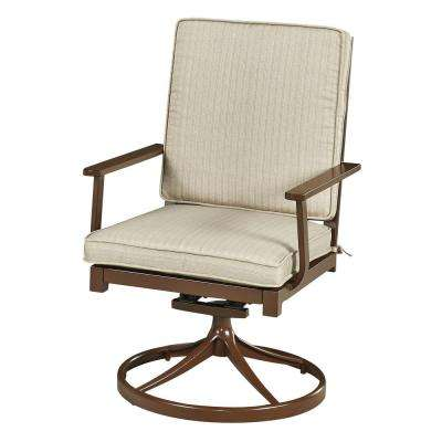 Key West Chocolate Brown Swivel Extruded Aluminum Outdoor Dining Chair with Beige Cushion