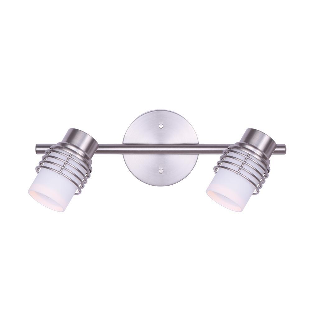 CANARM Ashby 1.25 ft. 2-Light Brushed Nickel Halogen or LED Track Lighting Kit