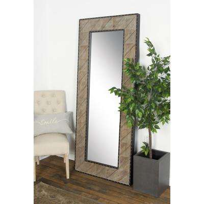 Rectangular Brown Door/Wall Mirror with Stud Frame Details